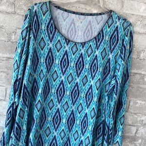 Kim Rogers blue & green print top shirt